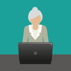 grandma with laptop is working with computer vector illustration EPS10
