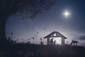 Christmas religious nativity concept: Silhouette Mother Mary, Joseph and Jesus in the manger - 3d illustration