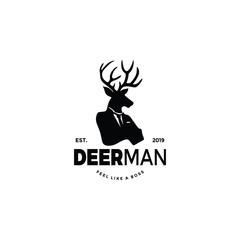 Deer worker man logo silhouette with head of elk moose head and human body. unique cool design. wear suit coat, tie like a boss.