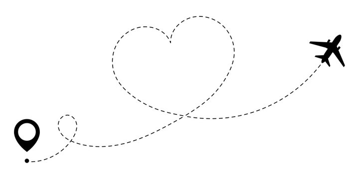 GPS route of love travel plane. A love journey that is tracked by the dotted line of the heart route. Romantic travel symbol for Valentine's Day. Vector illustration