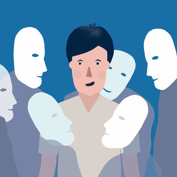 Vector illustration Of man Surrounded By Masks