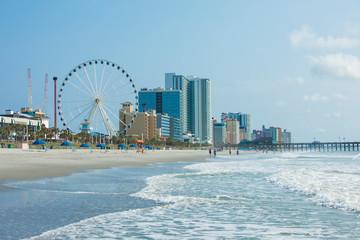 Resorts, ocean, and ferris wheel in Myrtle Beach, South Carolina.