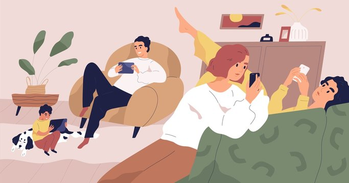 Gadget addiction concept flat vector illustration. Family using portable electronics. Social media networks users. People holding smartphones and tablets. Parents and kids spending time online.