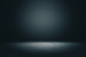 Abstract blank dark wall with copyspace and dark stage with spot light from above in empty hall.