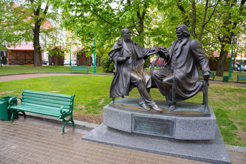 Minsk. The sculpture of the playwright Dunin-Marcinkiewicz and composer Moniuszko