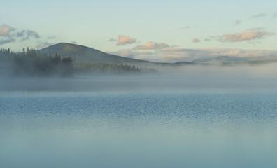 Fotomurales - Fog over a lake in scandinavia during a summers morning. Jamtland, Sweden.