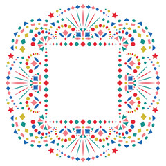 Mexican ethnic embroidery motif for border. Card or invitation for fiesta party template with bright folk art pattern.