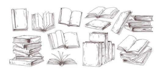 Books hand drawn illustrations set. Open diary, library textbook with empty pages isolated on white background. Closed notebooks stack, planners pile with blank hardback cover. Literature reading.