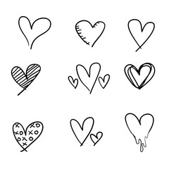 doodle heart love collection vector illustration