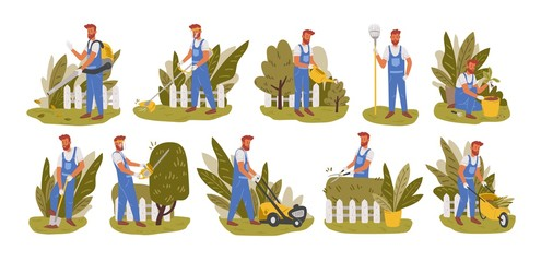 Gardener working flat vector illustrations set. Male handyman character mowing grass, trimming trees and bushes isolated pack. Backyard landscaping, plants cultivating and nursery, garden maintenance. Fototapete