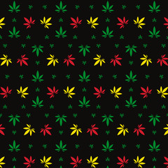 Vector seamless geometric marijuana pattern with colorful leaves on black background.