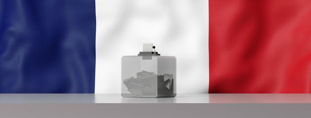 Urne de vote devant le drapeau Français