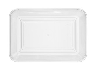 Plastic food box disposable top view (with clipping path) isolated on white background