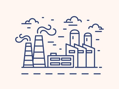 Factory outline vector illustration. Blue linear urban landscape isolated on white background. Industrial buildings monocolor line art signs. Chemical manufacture with chimney contour symbol.