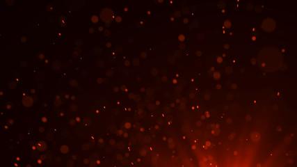 Fire flying sparks. Burning red sparks. Blurred bright light. 3D rendering