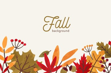 Fall hand drawn vector background. Autumn decorative illustration with leaves and place for text. Orange and red foliage drawing in flat style. Fall season backdrop with forest leafage and berries.