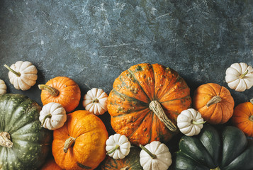 Different pumpkins on a green surface.