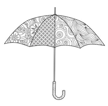 Umbrella in Zentangle inspired doodle style isolated on white. Coloring book page for adult