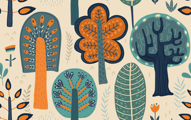 Vector seamless pattern with hand drawn forest trees, plants, flowers