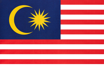 Malaysia national fabric flag textile background. Symbol of international world Asian country