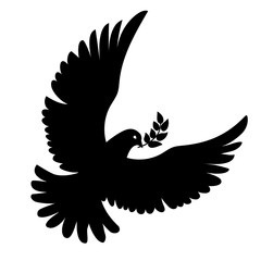 Vector flying dove with olive branch black silhouettes on white background. Peace concept. .