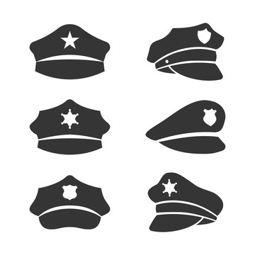 vector black police hat icons set