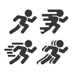 Running and Walking Icons Set on White Background. Vector