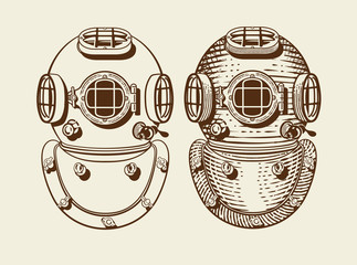 Old style diver helmets with and without engraving style