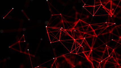 Red abstract polygonal space with connecting dots and lines. Dark background. Connection structure. 3d Wall mural