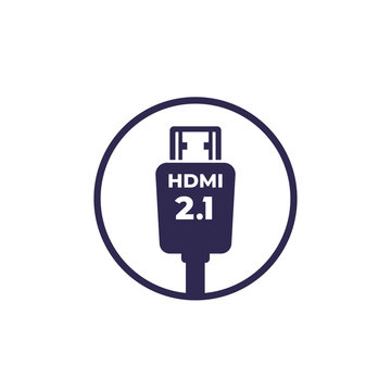 HDMI 2.1 icon on white, vector