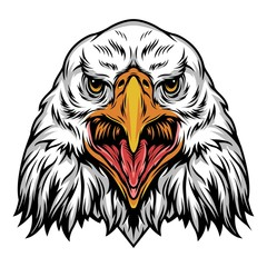 Colorful angry eagle head template