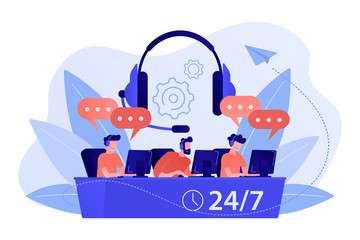 Wall Mural - Customer service operators with headsets at computers consulting clients 24 for 7. Call center, handling call system, virtual call center concept. Living coral bluevector isolated illustration