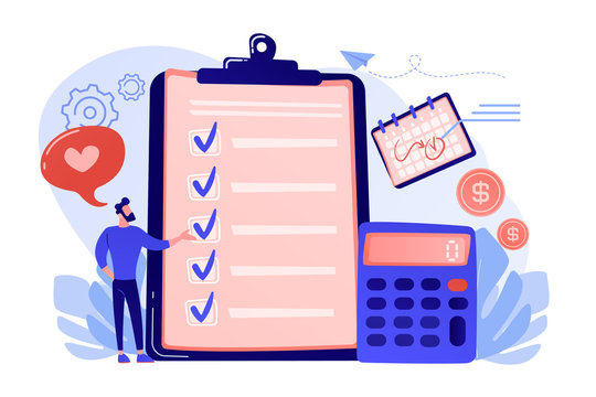Financial analyst planning at checklist on clipboard, calculator and calendar. Budget planning, balanced budget, company budget management concept. Living coral bluevector isolated illustration
