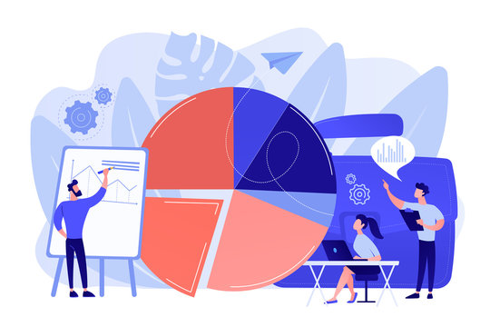 Sales pitch. Data visualization element, marketing chart. Research data. Business statistics, financial report, company performance analysis concept. Bright vibrant violet vector isolated illustration