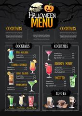 Halloween menu design with jack o lantern. Restaurant menu