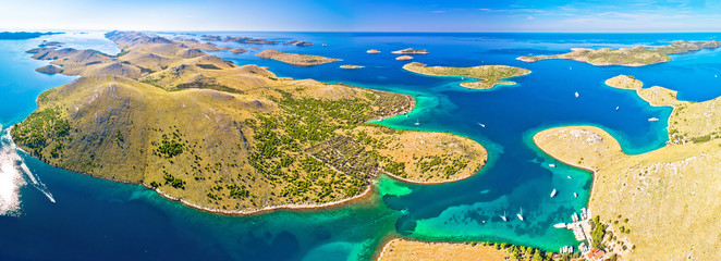 Amazing Kornati Islands national park archipelago panoramic aerial view