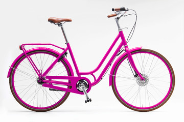 Poster de jardin Velo Urban City Bike Woman Bicycle With Carrier and Basket
