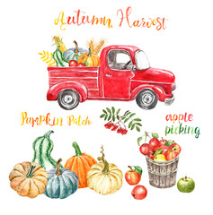 Watercolor red harvest truck with autumn seasonal vegetables and fruits, isolated. Hand painted cartoon abstract retro car, pumkins, corn, apples. Pumpkin patch illustration for Thanksgiving day.