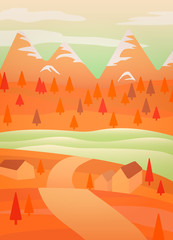 In de dag Oranje eclat landscape with trees
