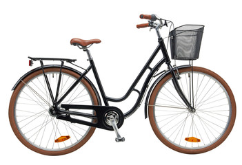 Aluminium Prints Bicycle Urban City Bike Woman Bicycle With Carrier and Basket