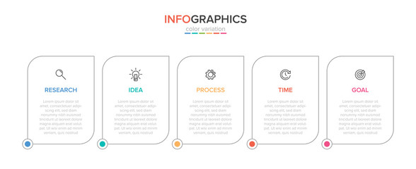 Infographic design with icons and 5 options or steps. Thin line vector. Infographics business concept. Can be used for info graphics, flow charts, presentations, web sites, banners, printed materials. Wall mural