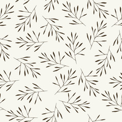Seamless background pattern with leaf, plants, grass. Hand draw botanic vector stock illustration, EPS 10.