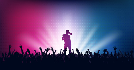 Silhouette of people raise hand up in concert with woman singer on stage and digital dot pattern on blue red color background