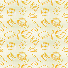 School, office seamless pattern for web pages, mobile applications. Image of stationery items: globe, calculator, backpack on a sheet in a cage.