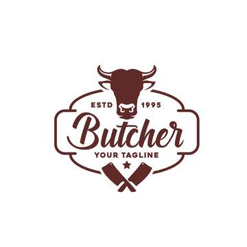 Vintage Retro Butcher Shop Label Logo Design