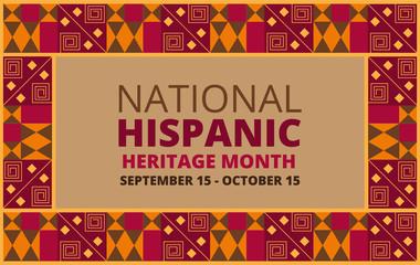 Fototapeta National Hispanic Heritage Month celebrated from 15 September to 15 October USA. obraz
