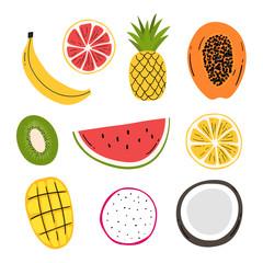 Hand drawn decorative fruits set for print, decor. Kids illustration.