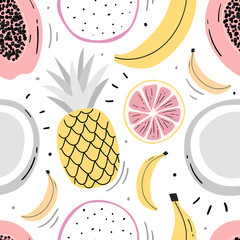 Lamas personalizadas para cocina con tu foto Hand drawn fruits seamless pattern for print, textile, wallpaper. Kids decorative fruits background.