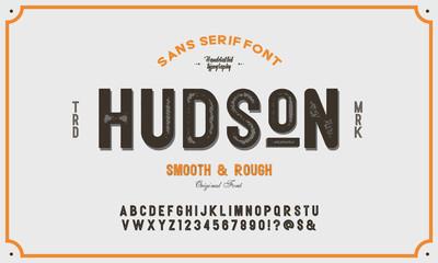 Original display alphabet. Vintage font design. Typeface.