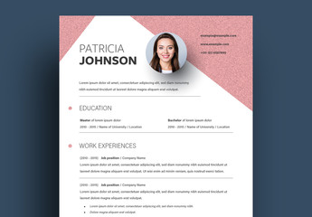 Resume Layout with Noisy Pink Background